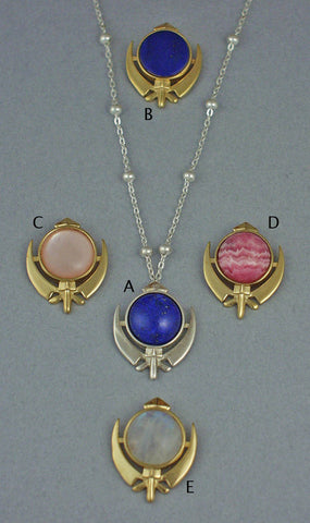 Small adi shakti gemstone necklaces and pin pendants