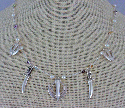 Silver pearl gemstone necklace with adi shaktis and LifeKnives