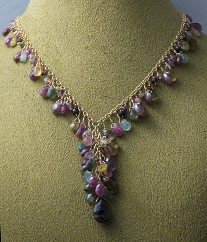 Natural multi-color tourmaline faceted briolette necklace