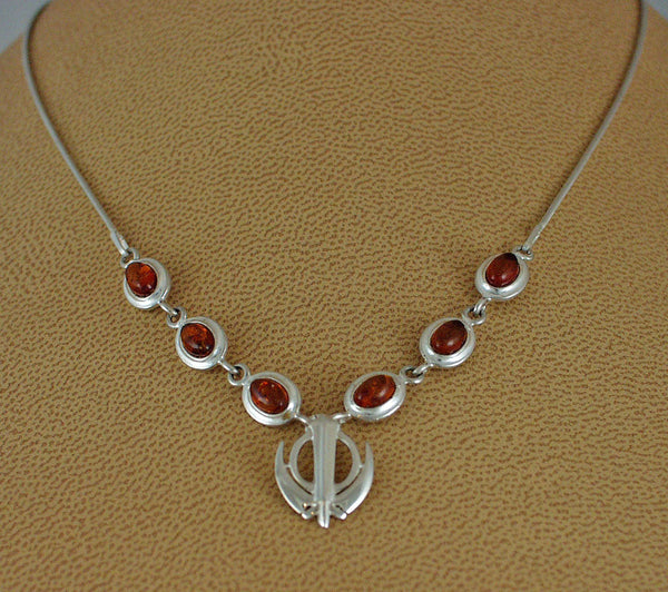 Simple amber adi shakti necklace