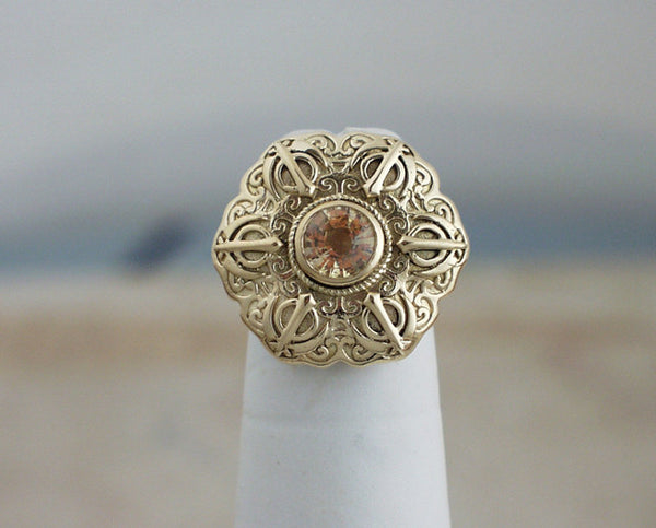 Yellow sapphire and gold Adi Shakti Talisman ring