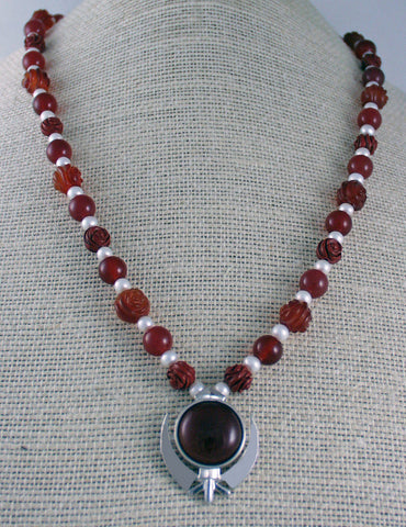Carnelian, jasper, pearl and silver Power Necklace