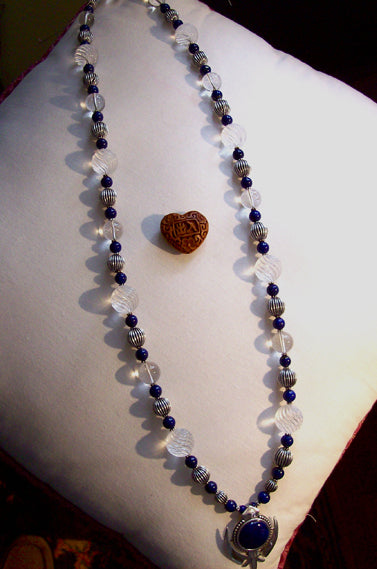 Quartz crystal lapis silver adi shakti necklace