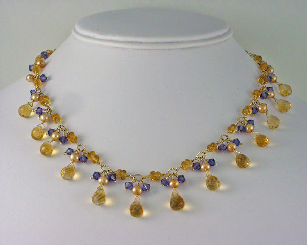 Citrine pearl crystal necklace