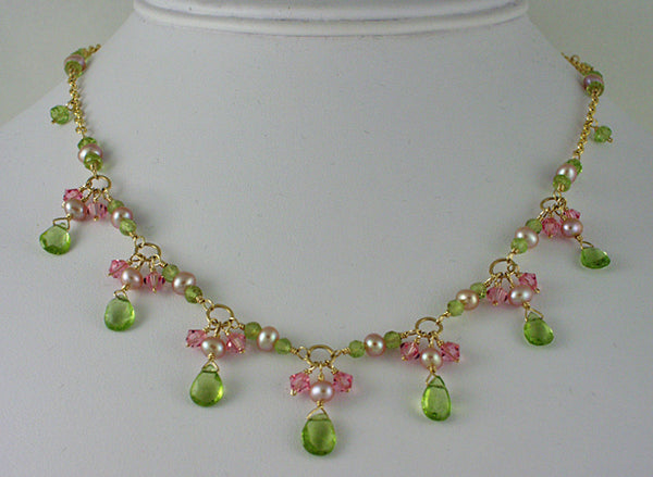 Pearl peridot necklace