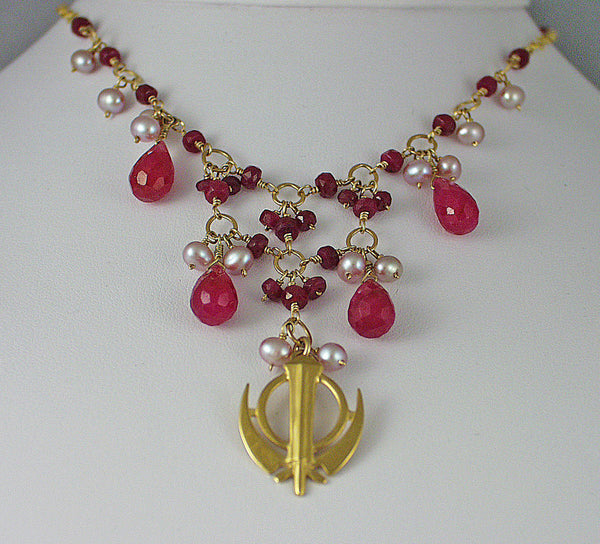 Ruby pearl adi shakti necklace