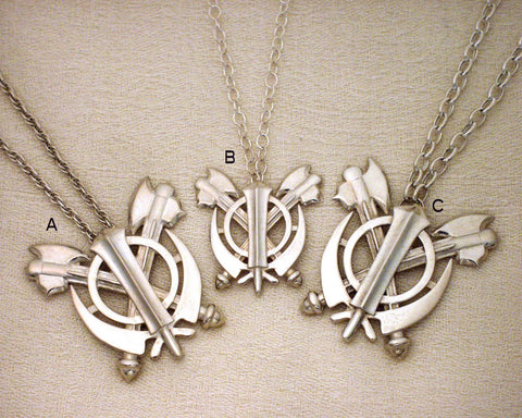Silver double axe adi shakti pendants with chains