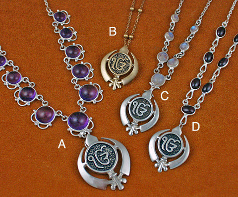 Adi Shakti ekongkar pendants on varied necklaces