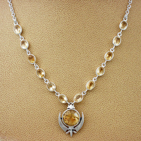 Small faceted citrine adi shakti necklace