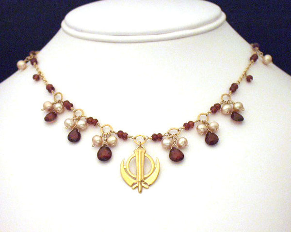 Gemstone pearl adi shakti necklace