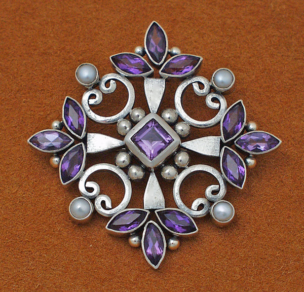 European silver amethyst cross