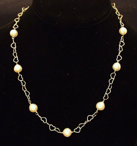 Pearl and sterling silver hearts necklace