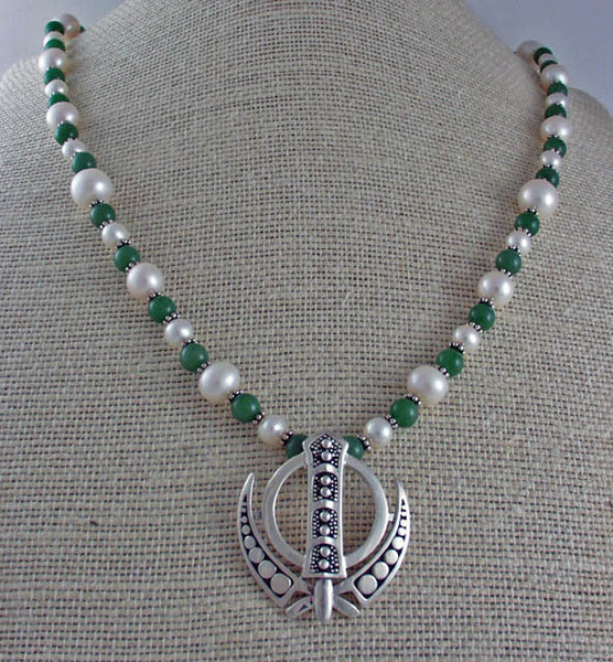 Jade, pearl and silver Adi Shakti Power Necklace