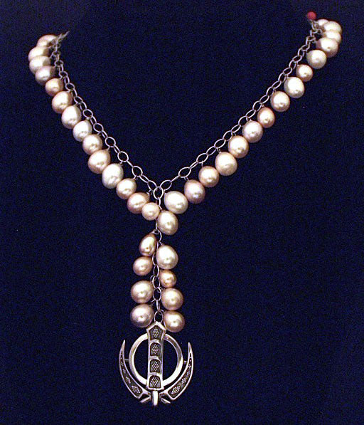 Freshwater pearl silver necklace with adi shakti (khanda)