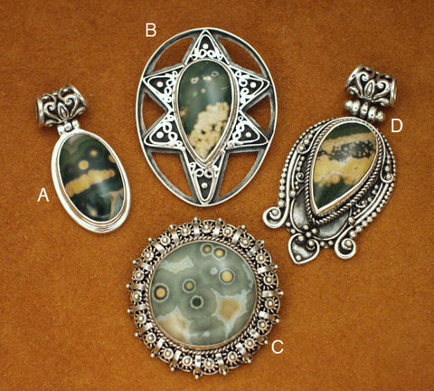 Ocean jasper sterling silver pin/pendants and pendants
