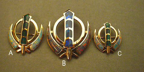 Gold and opal adi shakti pin pendants
