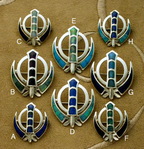 Opal gemstone and silver adi shakti pin pendants
