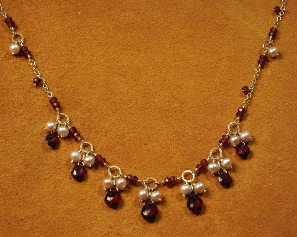 Gemstone Briolette and Freshwater Pearl Necklace