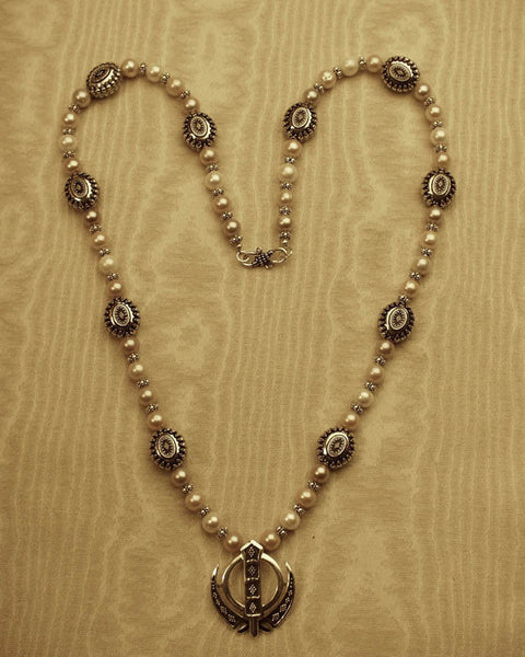 Freshwater pearl and sterling silver adi shakti necklace