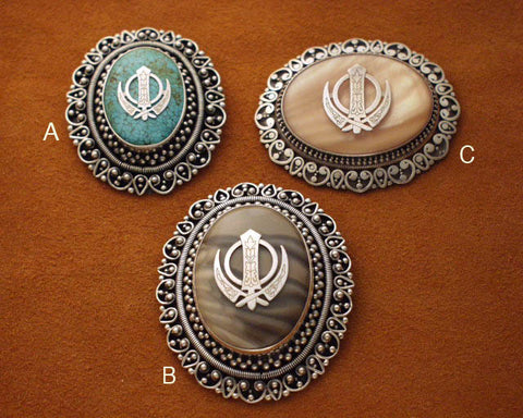 Oval adi shakti brooches