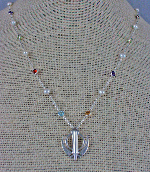 Silver, pearl and gemstone adi shakti necklace