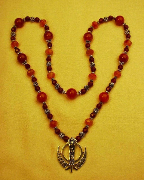 Carnelian and sterling silver adi shakti (khanda) necklace