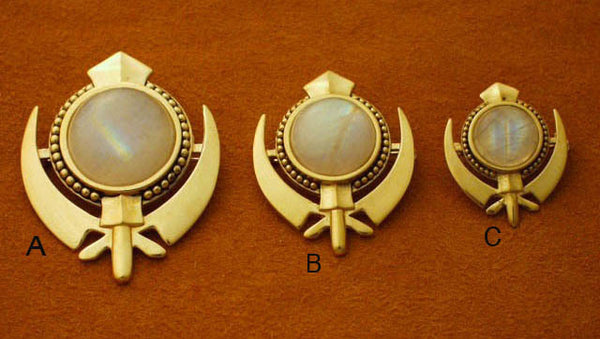 Rainbow moonstone beaded border adi shakti pin pendants