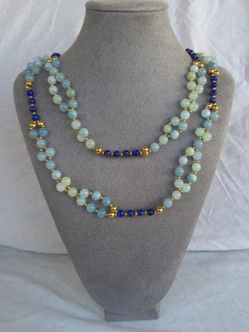 Morganite, Lapis and 24K Gold-filled Bead Tantric Necklace