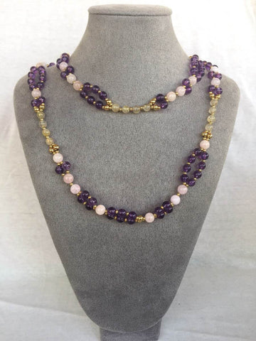Amethyst, Titanium, Morganite and 24K Gold-filled Bead Tantric Necklace