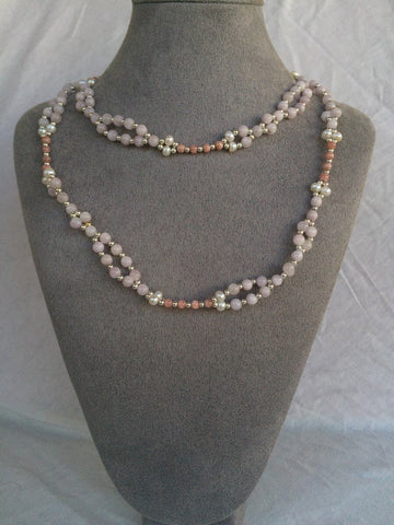 Kunzite, Rhodochrosite, Pearl and Sterling Silver Bead Tantric Necklace