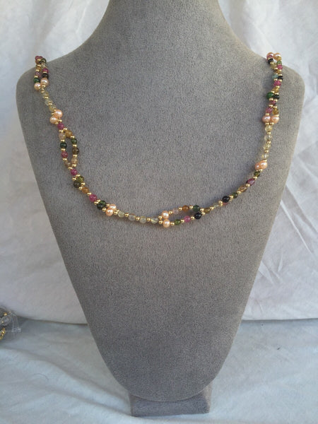 Tourmaline, Pearl, Quartz Crystal, 18K Gold-filled bead Tantric Necklace