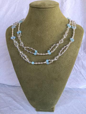 Blue Agate, Quartz Crystal and Sterling Silver bead Tantric Necklace