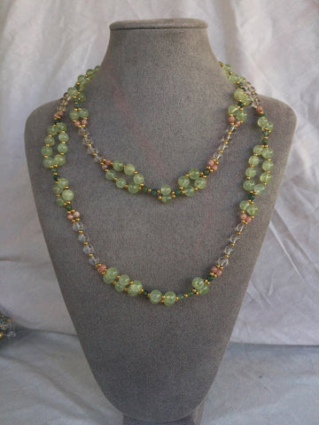 Prehnite, Quartz Crystal, Rhodochrosite, Jade and 18K Gold-filled Bead Tantric Necklace