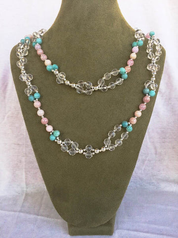 Morganite, Microcline, Quartz Crystal and Silver Bead Tantric Necklace