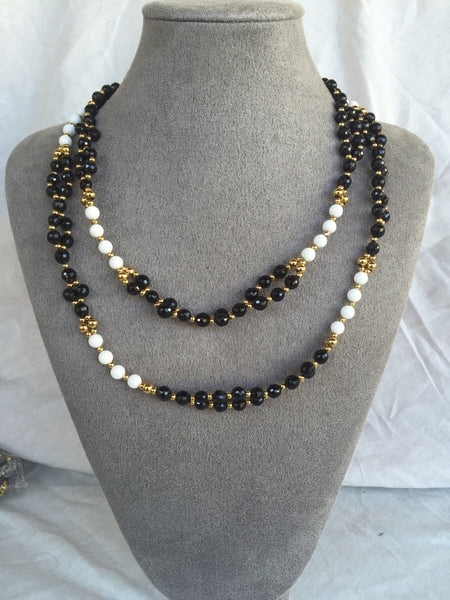 Obsidian, Triacna and 24K Gold-filled Bead Tantric Necklace