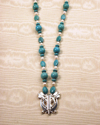 Turquoise and pearl silver double axe adi shakti necklace