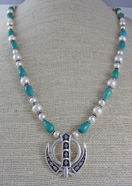 Silver, pearl and turquoise adi shakti necklace