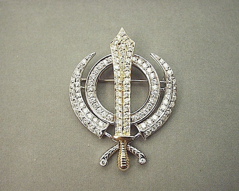 Gold and diamond adi shakti pin pendant