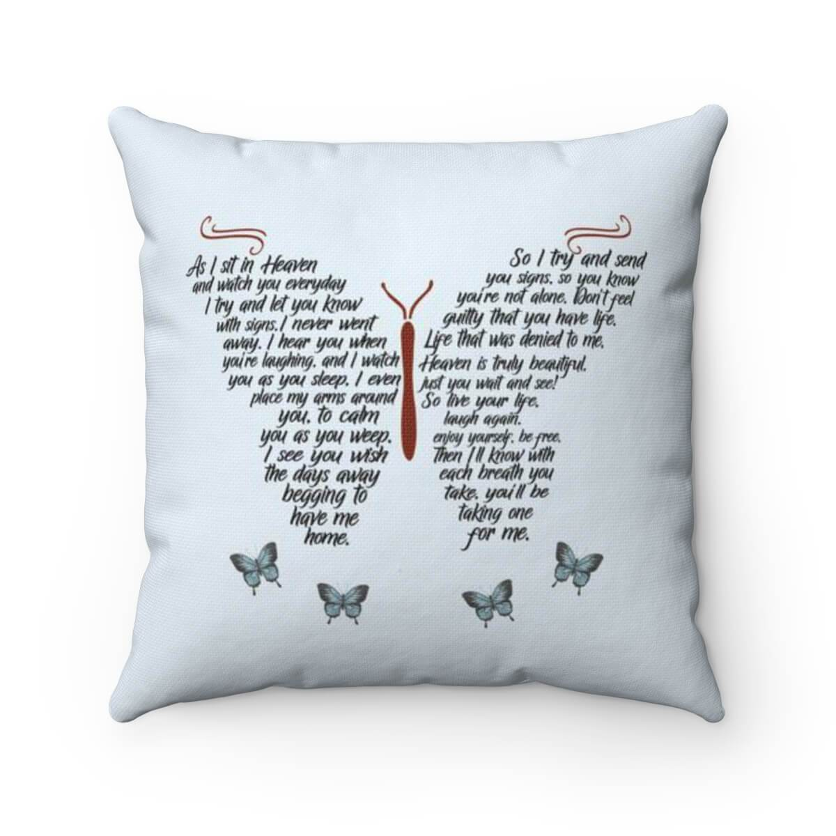 As I Sit In Heaven Poem - Pillow