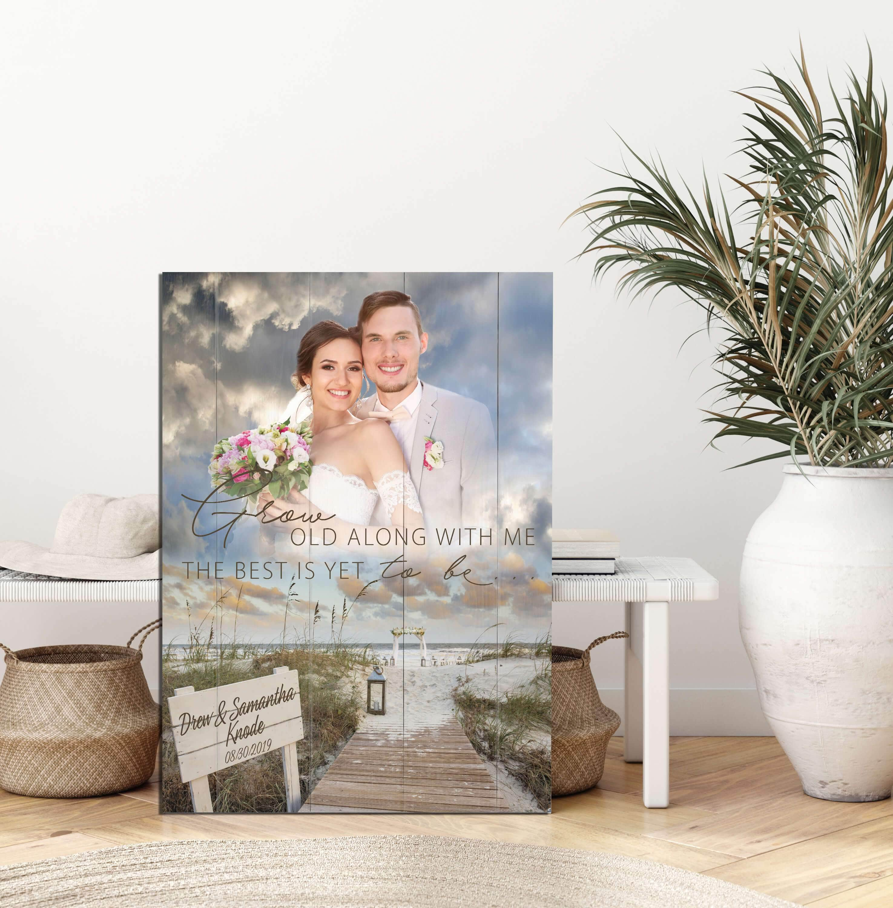 Grow Old With Me The Best Is Yet To Be - Beach Wedding - Custom Photo Upload