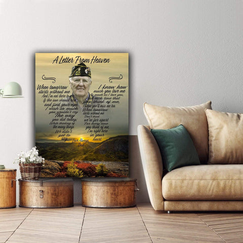 A Letter From Heaven - Mountain Sunset - Personalized Canvas - Digital Copy