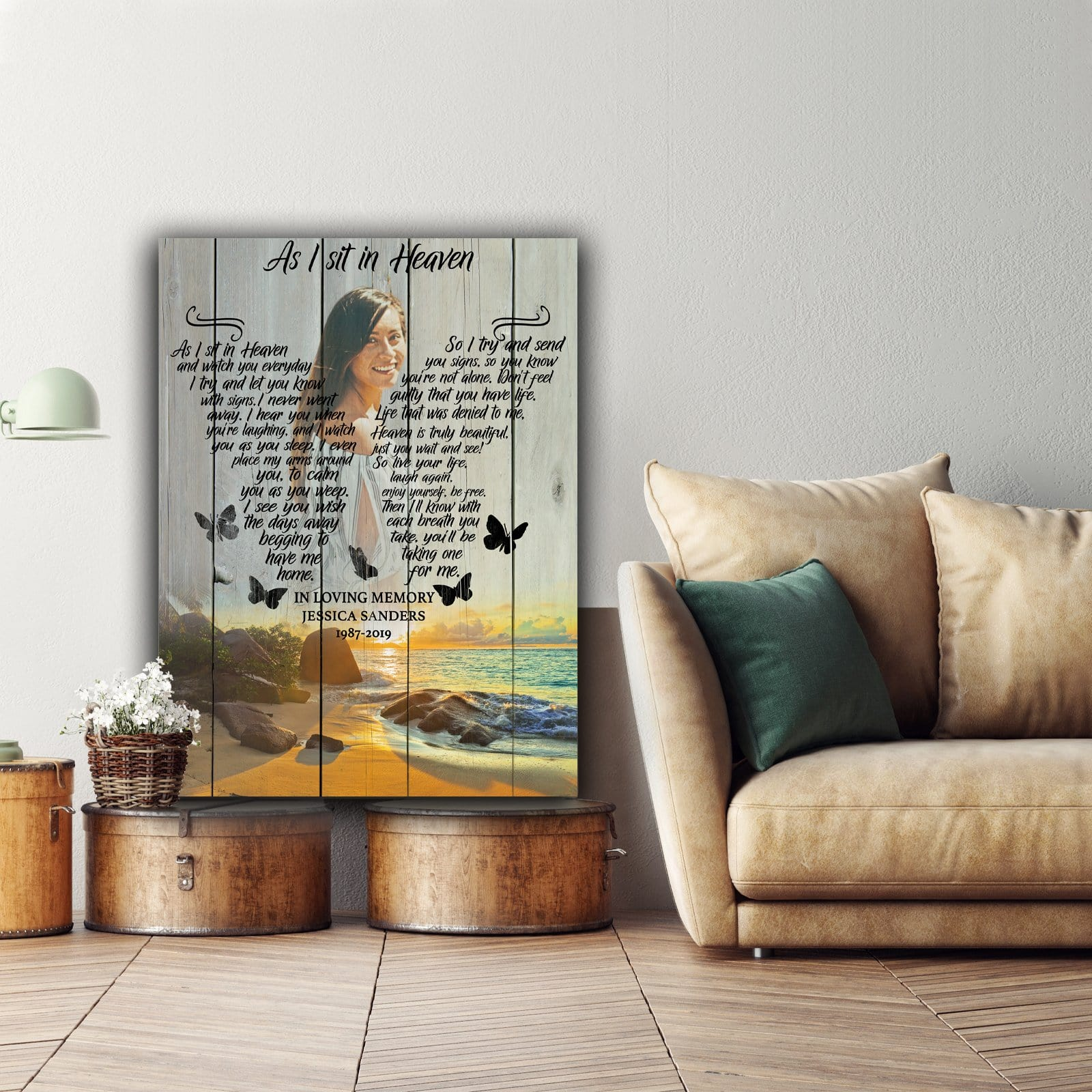 As I Sit In Heaven Blue Ocean Background - Personalized Canvas