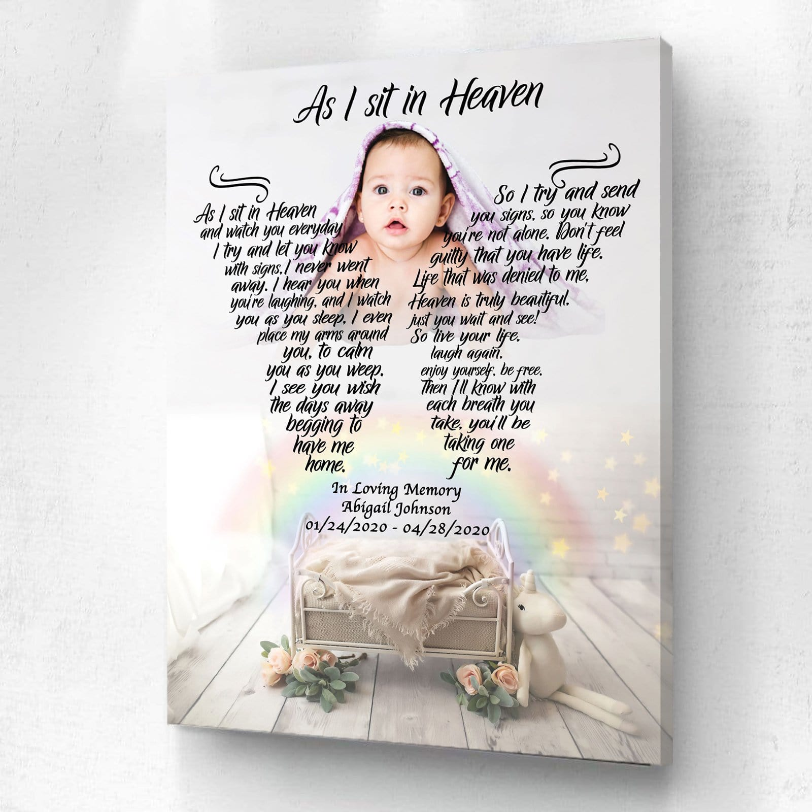 As I Sit In Heaven - Rainbow Baby - Personalized Canvas