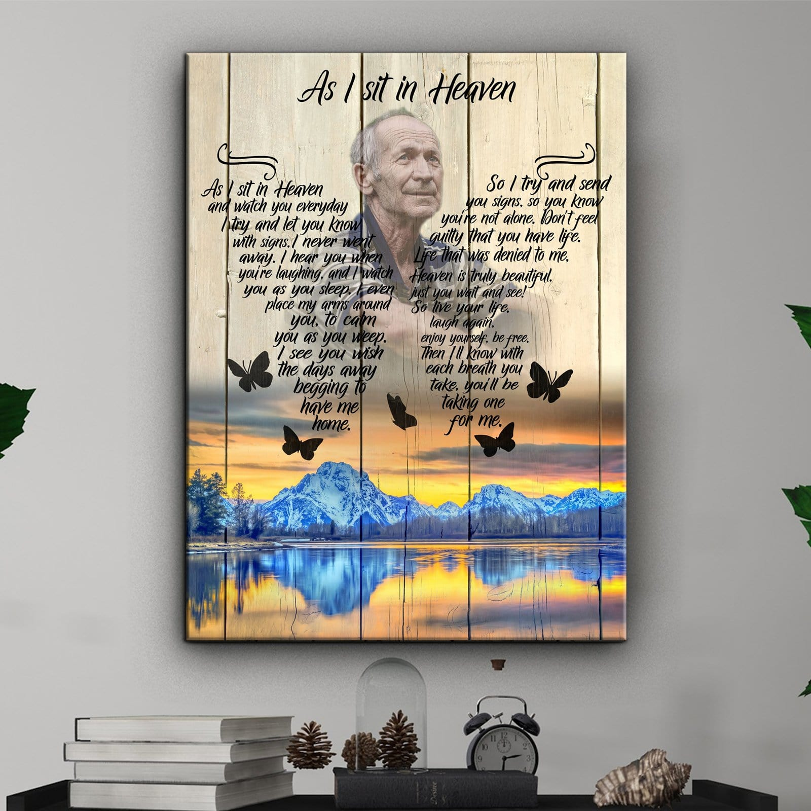 As I Sit In Heaven - Lake Sunset - Personalized Canvas