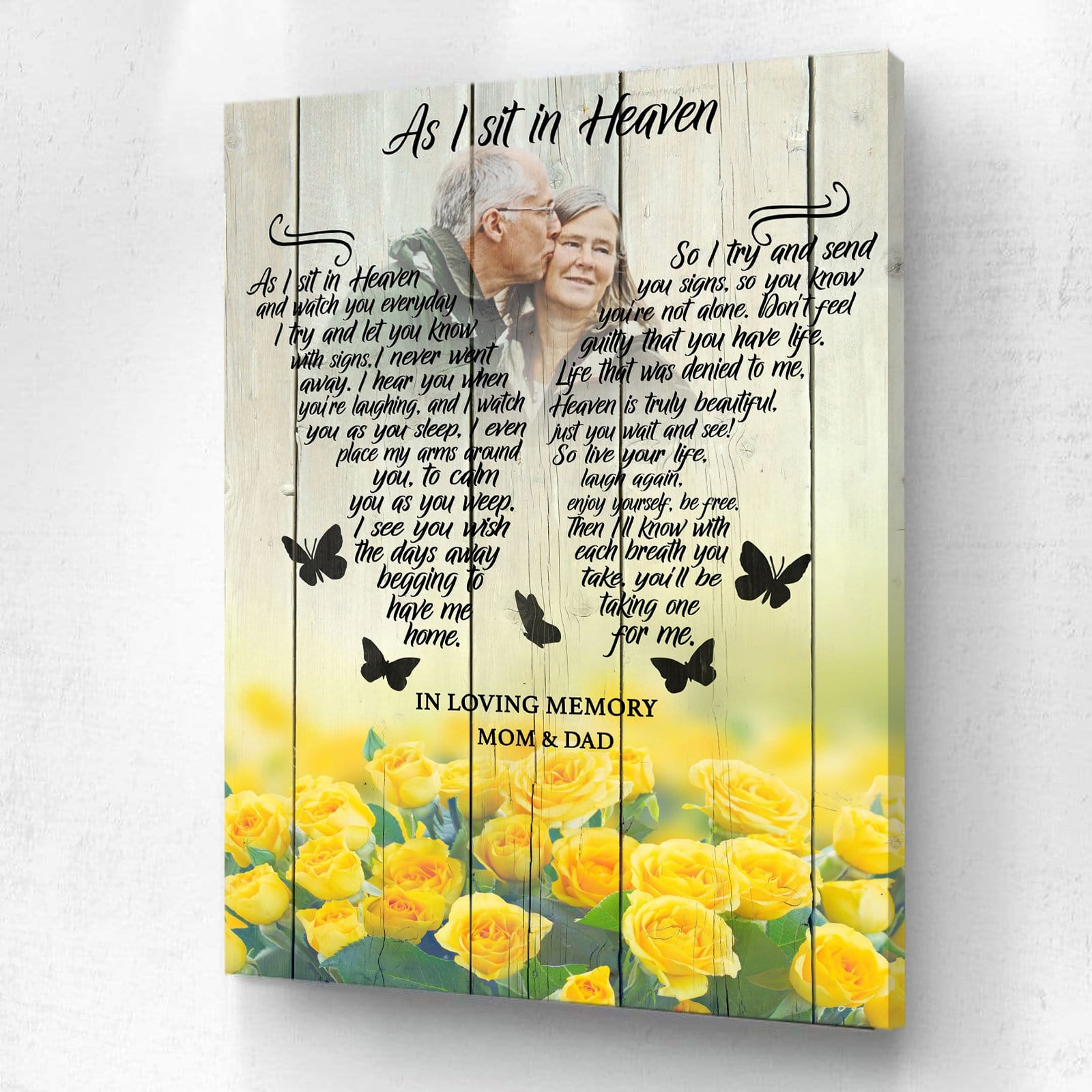 As I Sit In Heaven Yellow Roses - Personalized Canvas