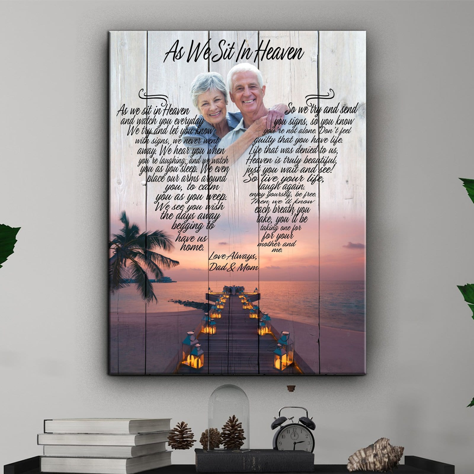 As We Sit In Heaven - Lanterns By The Sea - Personalized Canvas