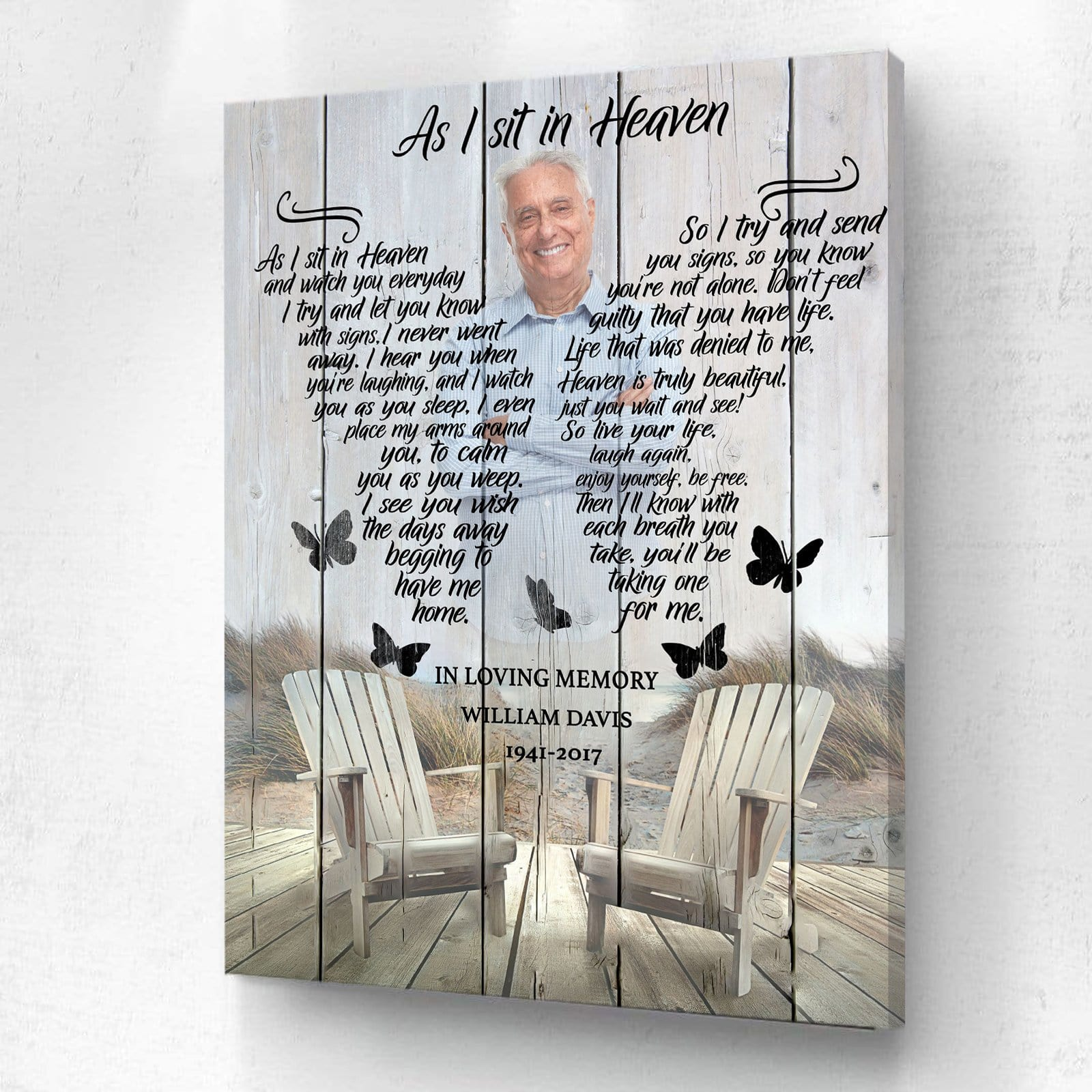 As I Sit In Heaven Memorial - Personalized Canvas