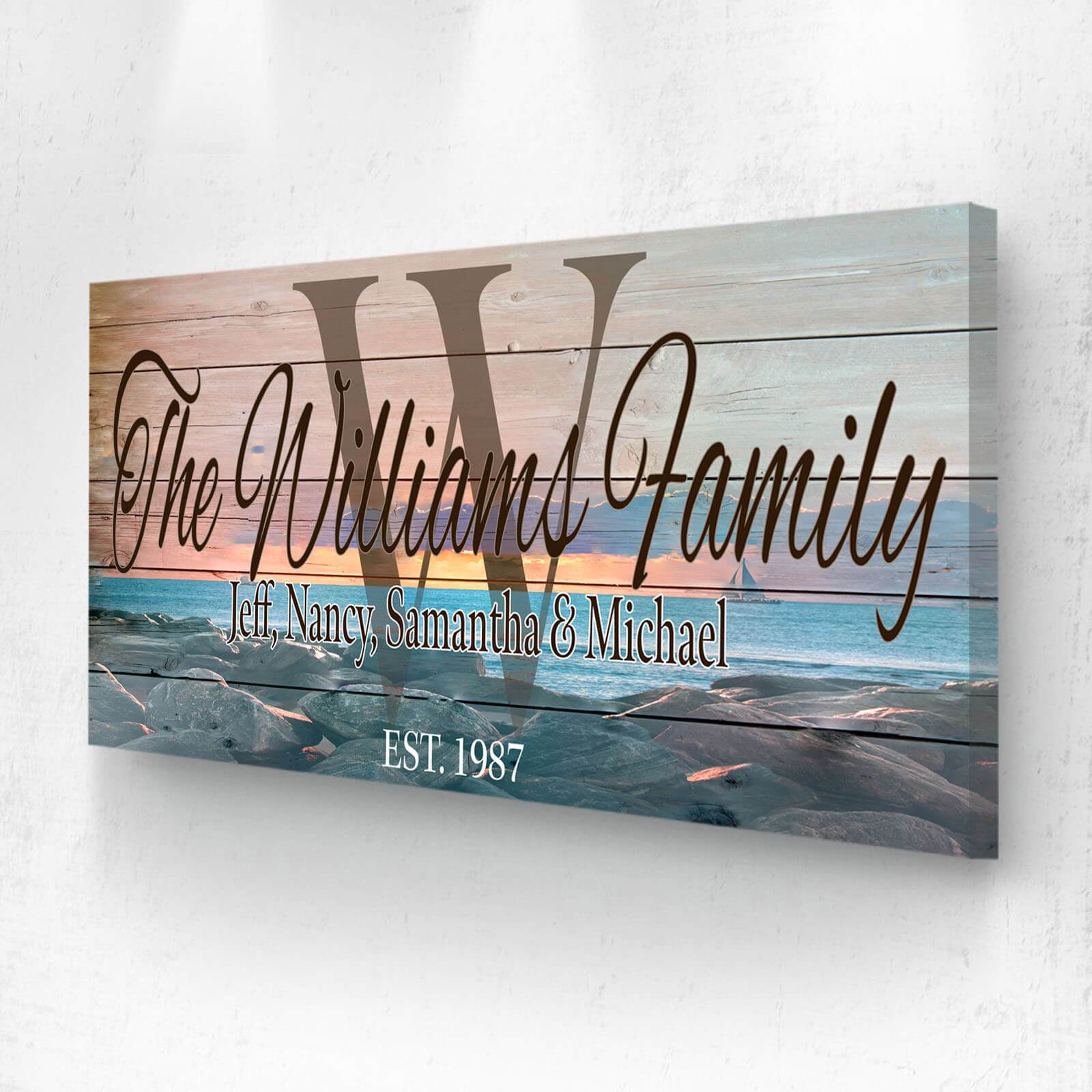 Customized Family Name Sunset Sign - Personalized