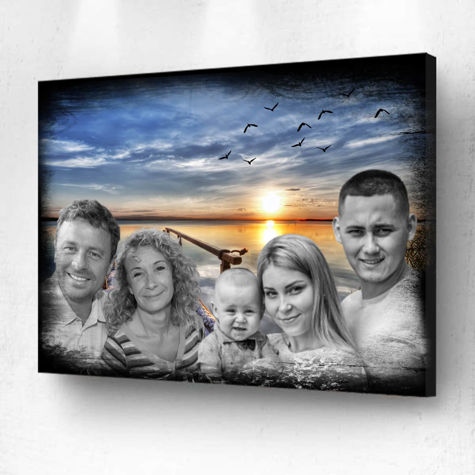 Add deceased loved one to painting Combined Photos Merge multiple photo Family photo combining to painting add multiple photo to painting