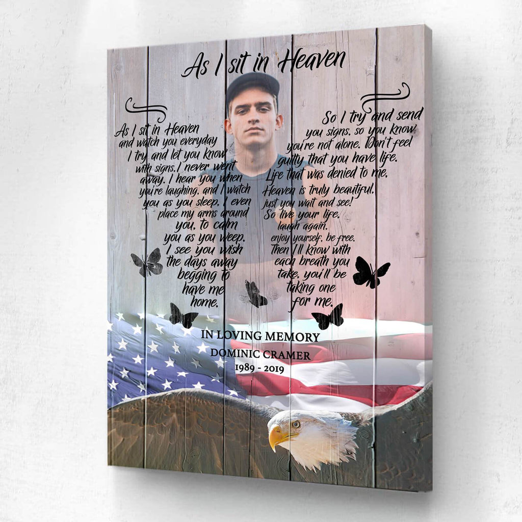 I Sit In Heaven American Eagle Background - Personalized Canvas